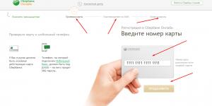Ввод данных для регистрации в системе СБЕРБАНК ОНЛАЙН